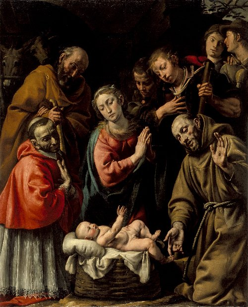 Adoration of the Shepherds with St Francis and Carlo Borromeo | Antonio de Enrico (called Tanzio da Varallo) | oil painting