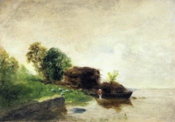 Laundress on the Banks of the River 1855 | Camille Pissarro | oil painting