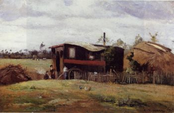 The bohemian's wagon | Camille Pissarro | oil painting