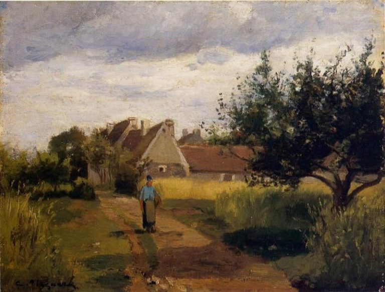 Entering a Village 1863 | Camille Pissarro | oil painting