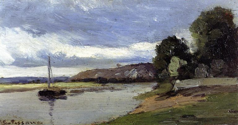 Banks of a River with Barge 1864 | Camille Pissarro | oil painting