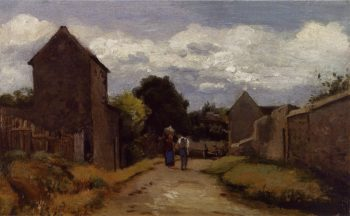 Male and Female Peasants on a Path Crossing the Countryside 1864 | Camille Pissarro | oil painting