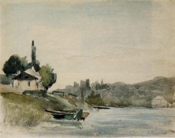The Banks of the Marne at Cennevieres 1864 - 1865 | Camille Pissarro | oil painting