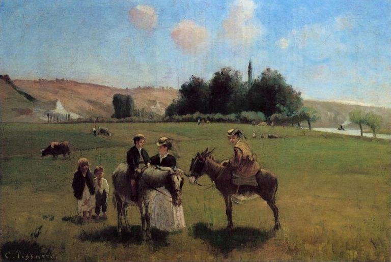 Donkey Ride at La Roche-Guyon 1864 - 1865   Camille Pissarro   oil painting