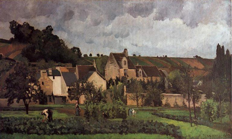 View of l'Hermitage at Pontoise 1867 | Camille Pissarro | oil painting