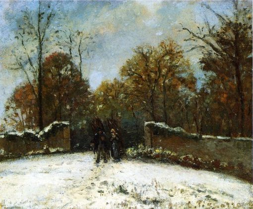 Entering the Forest of Marly (Snow Effect) 1869 | Camille Pissarro | oil painting