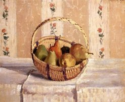 Apples and Pears in a Round Basket 1872 | Camille Pissarro | oil painting