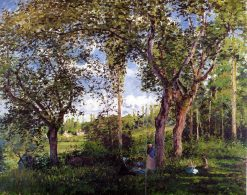 Landscape with Strollers Relaxing under the Trees 1872 | Camille Pissarro | oil painting