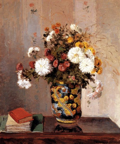 Chrysanthemums In a Chinese Vase 1873 | Camille Pissarro | oil painting