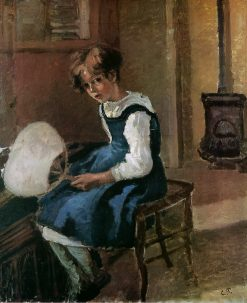 Jeanne Holding a fan 1873 | Camille Pissarro | oil painting