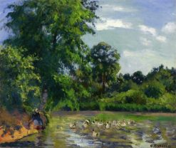 Ducks on the Pond at Montfoucault 1874 | Camille Pissarro | oil painting