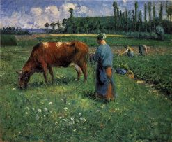 Girl Tending a Cow in Pasture   Camille Pissarro   oil painting