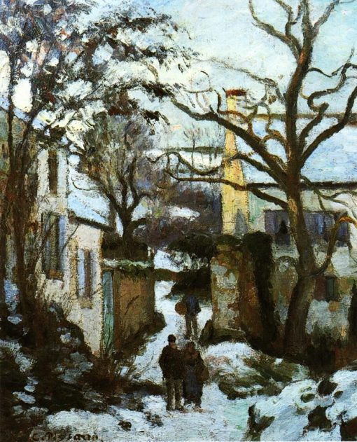 The Road to L'Hermitage in Snow 1874 | Camille Pissarro | oil painting