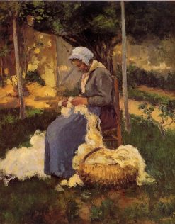 Female Peasant Carding Wool | Camille Pissarro | oil painting