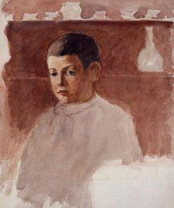 Half Length Portrait of Lucien Pissarro 1875 | Camille Pissarro | oil painting