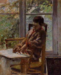 Lucien Pissarro in an Interior 1875 | Camille Pissarro | oil painting