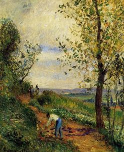 Landscape with a Man Digging 1877 | Camille Pissarro | oil painting