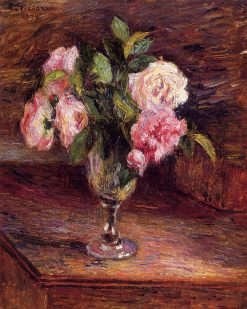 Roses in a Glass 1877 | Camille Pissarro | oil painting