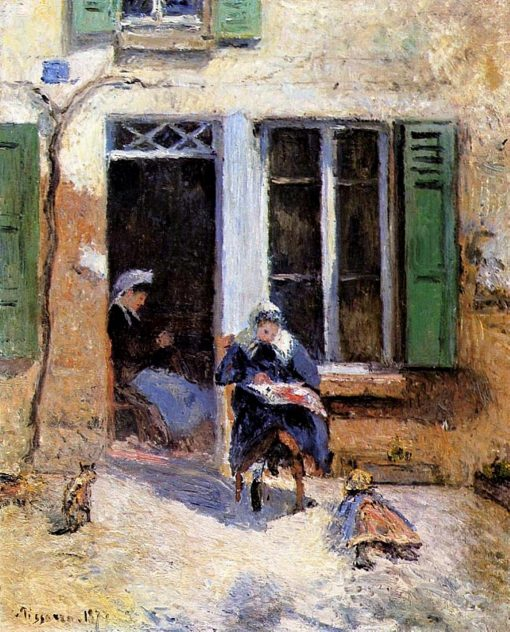 Woman and Child Doing Needlework 1877   Camille Pissarro   oil painting