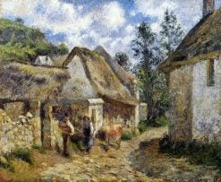 A Street in Auvers (Thatched Cottage and Cow) | Camille Pissarro | oil painting