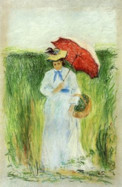 Young Woman with an Umbrella 1877 - 1880 | Camille Pissarro | oil painting