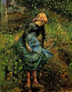 Girl with a Stick   Camille Pissarro   oil painting