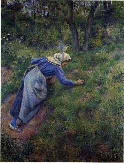 Peasant Gathering Grass 1881 | Camille Pissarro | oil painting