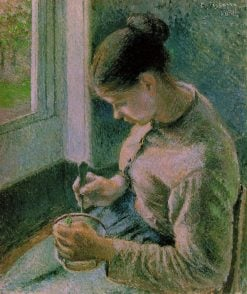 Peasant girl drinking her coffee 1881 | Camille Pissarro | oil painting