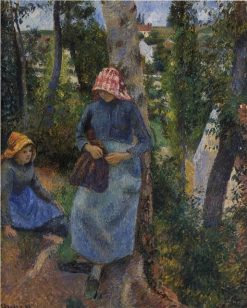 Two Young Peasants Chatting under the Trees 1881 | Camille Pissarro | oil painting