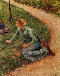 Peasant Trimming the Lawn 1882 | Camille Pissarro | oil painting
