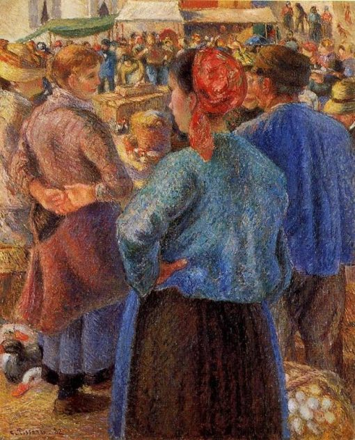 The Poultry Market at Pontoise 1882 | Camille Pissarro | oil painting