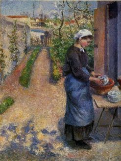 Young Woman Washing Plates 1882 | Camille Pissarro | oil painting