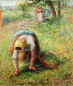 Peasants Gathering Grass 1883 | Camille Pissarro | oil painting