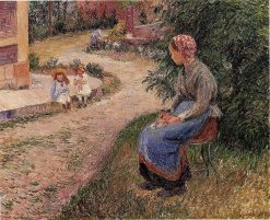 A Servant Seated in the Garden at Eragny 1884 | Camille Pissarro | oil painting