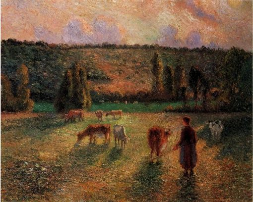Cowherd at Eragny 1884 | Camille Pissarro | oil painting