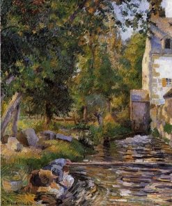 Laundry and Mill at Osny 1884 | Camille Pissarro | oil painting