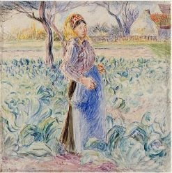 Peasant Woman in a Cabbage Patch 1884 - 1885 | Camille Pissarro | oil painting