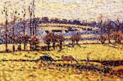 Meadow at Bazincourt 1886   Camille Pissarro   oil painting