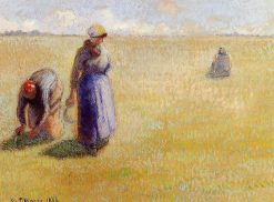 Three Women Cutting Grass 1886 | Camille Pissarro | oil painting