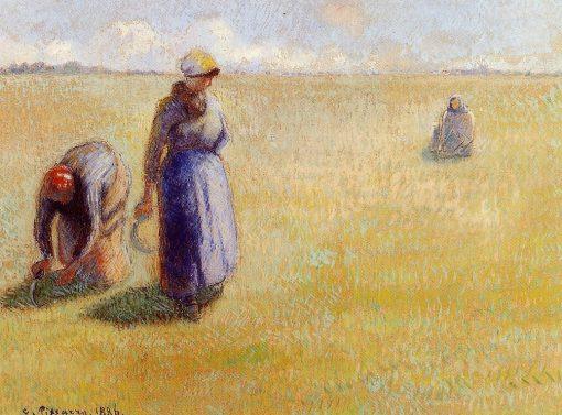 Three Women Cutting Grass 1886 | Camille Pissarro | oil painting