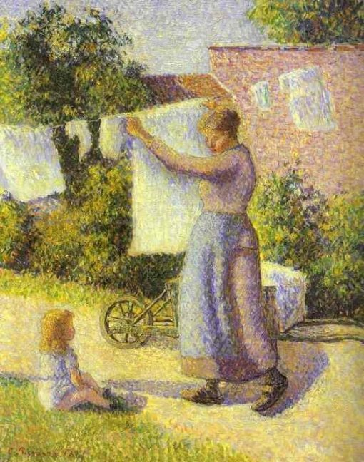 Woman Hanging up the Washing 1887 | Camille Pissarro | oil painting