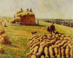Flock of Sheep in a Field after the Harvest 1889 | Camille Pissarro | oil painting