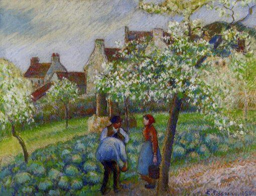 Flowering Plum Trees 1890 | Camille Pissarro | oil painting