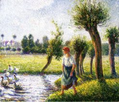 Peasant Woman Watching the Geese 1890 | Camille Pissarro | oil painting
