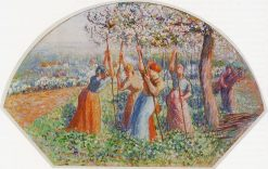 Peasants Planting Pea Sticks (also known as Peasants planting in the field) 1890 | Camille Pissarro | oil painting