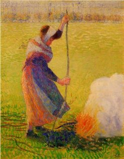 Woman Burning Wood 1890 | Camille Pissarro | oil painting