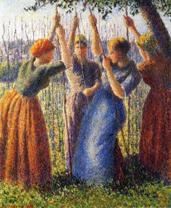 Peasant Women Planting Stakes 1891 | Camille Pissarro | oil painting