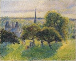 Farm and Steeple at Sunset 1892 | Camille Pissarro | oil painting