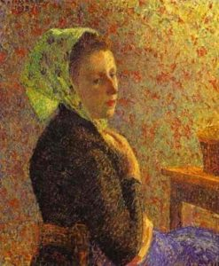 Woman wearing a green headscarf | Camille Pissarro | oil painting