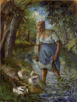Peasant Crossing a Stream 1894 | Camille Pissarro | oil painting